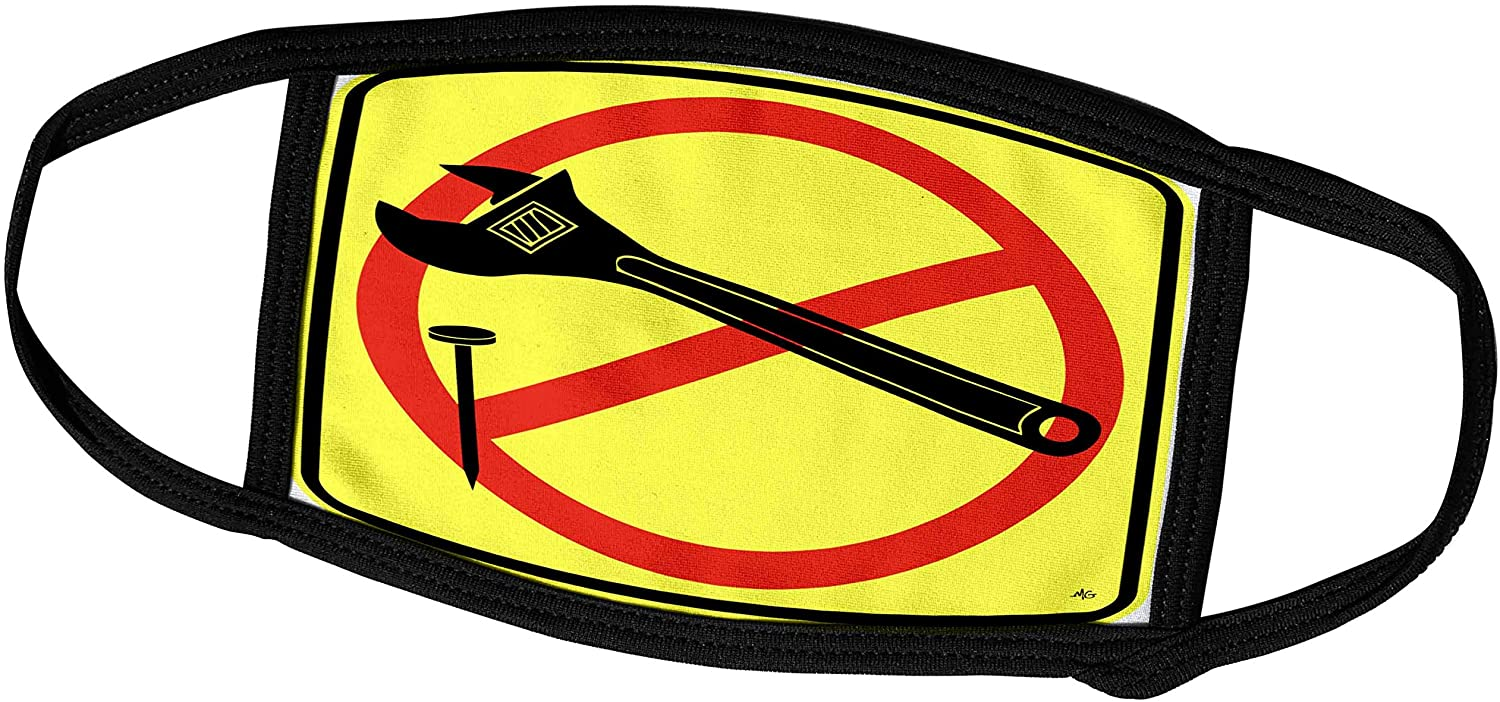 3dRose Mark Grace SCREAMNJIMMY Hand Tools - NOT A Hammer Wrench Yellow Sign 1 - Face Masks (fm_18077_3)