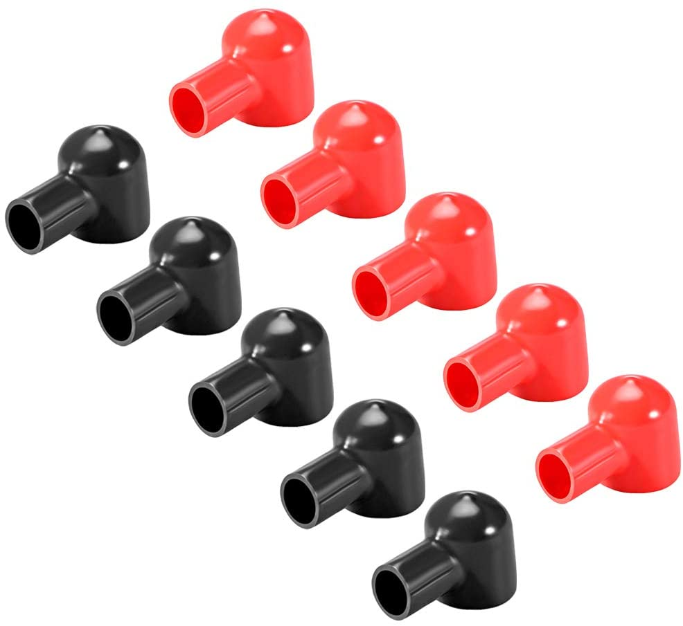 uxcell Battery Terminal Insulating Rubber Protector Covers for 20mm Terminal 12mm Cable Red Black 5 Pairs