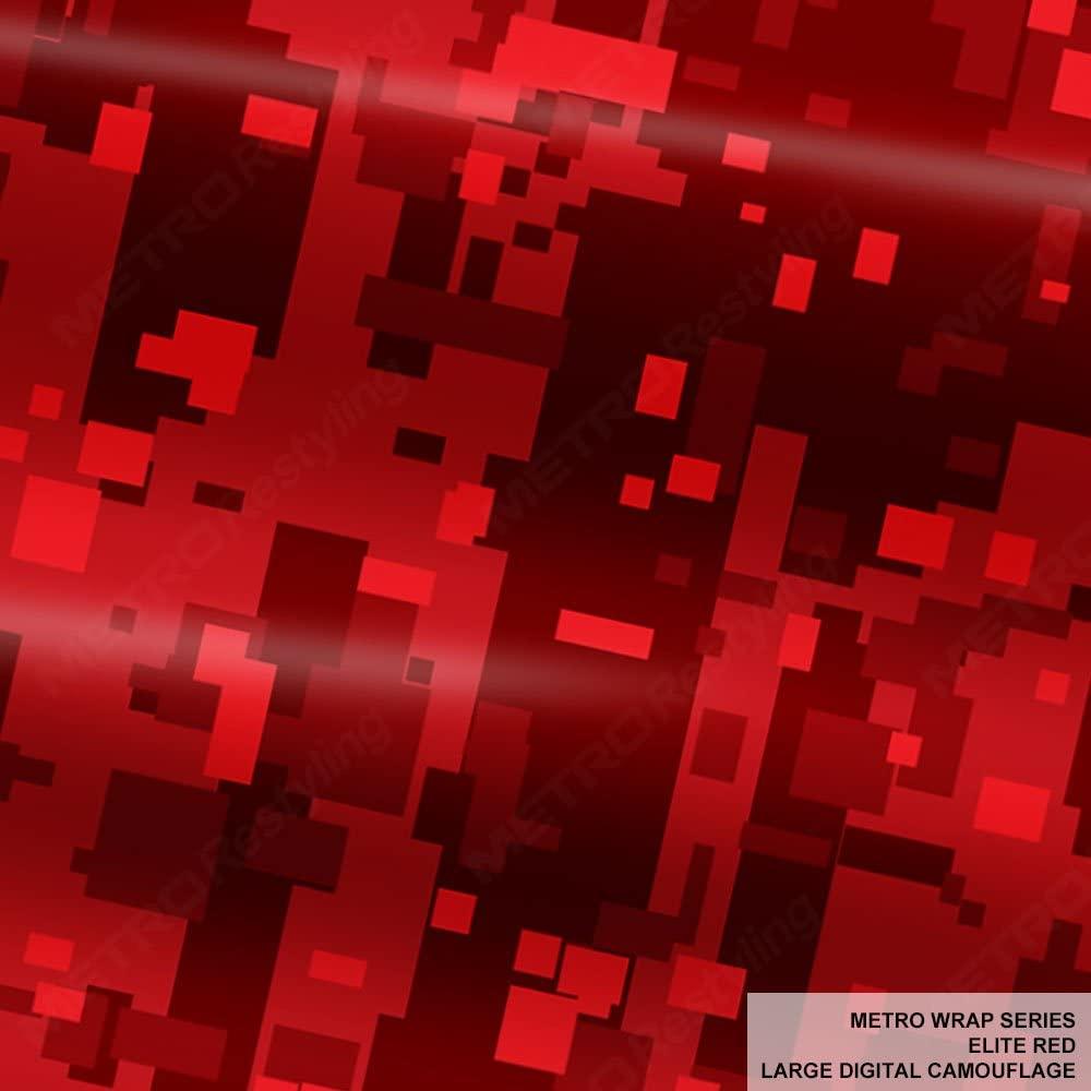 Metro Wrap Series Elite Red Large Digital Camouflage 1ft x 1ft (1 sq/ft) Camo Vinyl Car Wrap Film