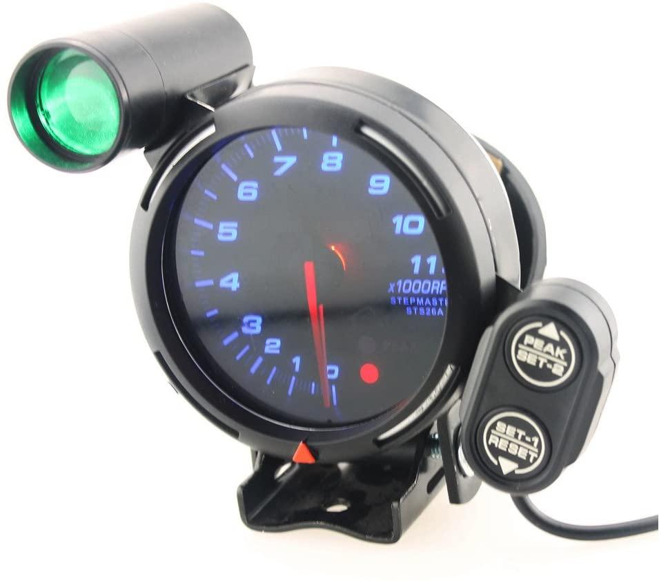3.75 Inch 12V Automotive Tachometer Gauge Kit, 11000 RPM Blue LED with Shift Light, Blue LED Light Tacho Tachometer