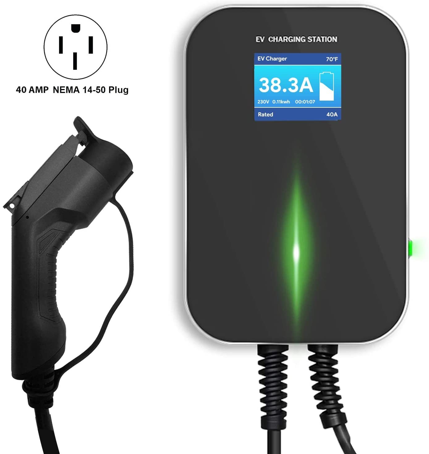 Lectron 240V 40 Amp Level 2 Electric Vehicle (EV) Charging Station with 20ft/6m J1772 Cable & NEMA 14-50 Plug - EVSE 9.6kW Compatible with All SAE J1772 Electric Vehicles