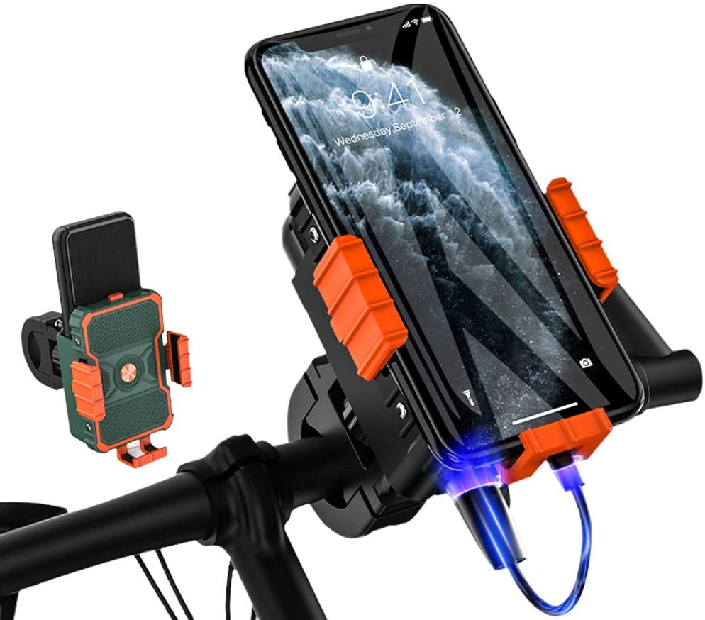 EKUPUZ Phone Holder,Motorcycle Phone Mount,Bike Cell Phone Holder,with Mobile Power Box Takeaway Rider Navigation Stand for Motorcycle, ATV,Snowmobile,Motor Tricycle,Scooters,etc