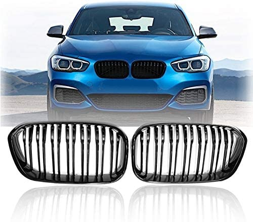 XDT Fog Light Mesh Grille Auto Parts Front Racing Grill Fit for BMW F20 F21 1 Series 2015 2016 2017 Sports Double Slat Line Kidney Grill Grille(Gloss Black)