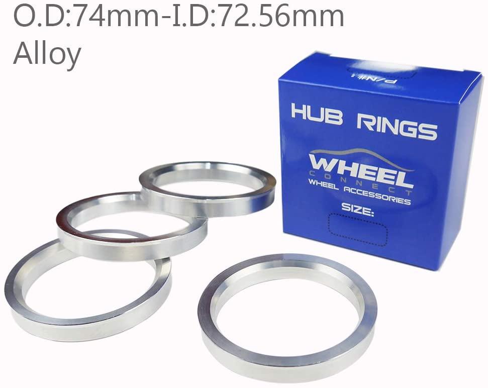 WHEEL CONNECT Hub Centric Rings, Set of 4,Aluminium Alloy Hubrings, O.D:74 -I.D:72.56mm.
