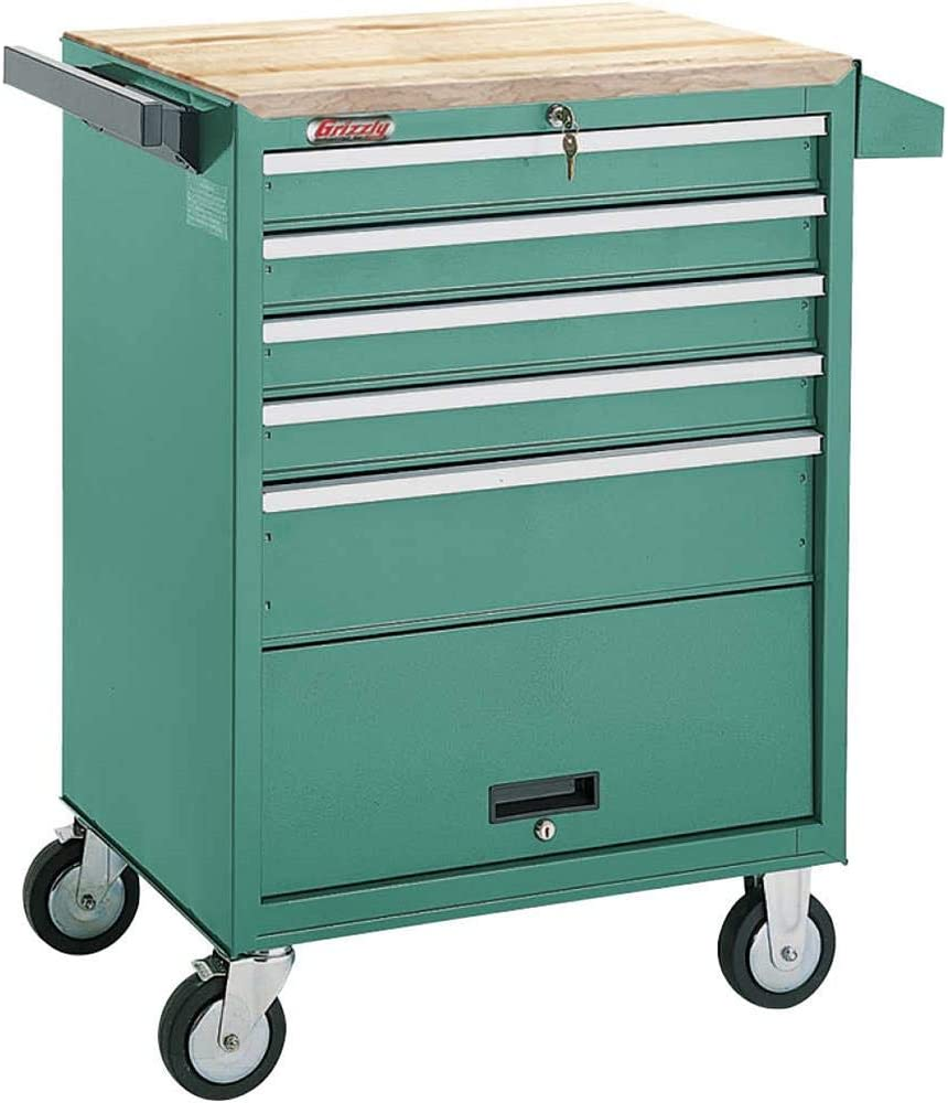 Grizzly Industrial H0841-5 Drawer Roll-Cabinet w/Bulk Storage Compartment