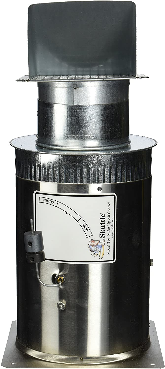 Skuttle 000-0216-002 Make Up Air Control, Stainless Steel, 4 inch Diameter, Fresh Air Intake,