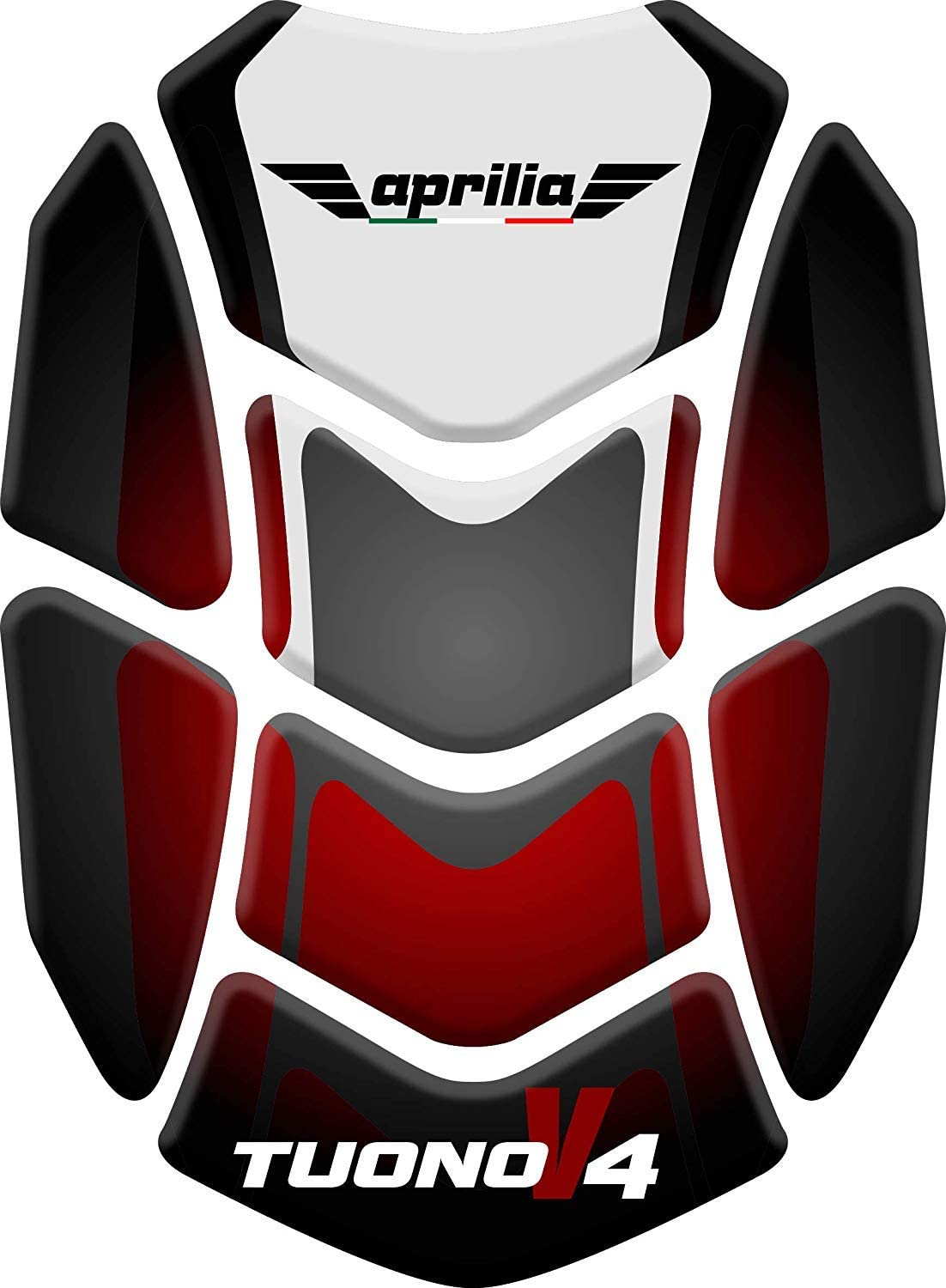 Stickers for fuel tank tankpad 3D effect resin adhesive sticker compatible with Aprilia Tuono v4 Red