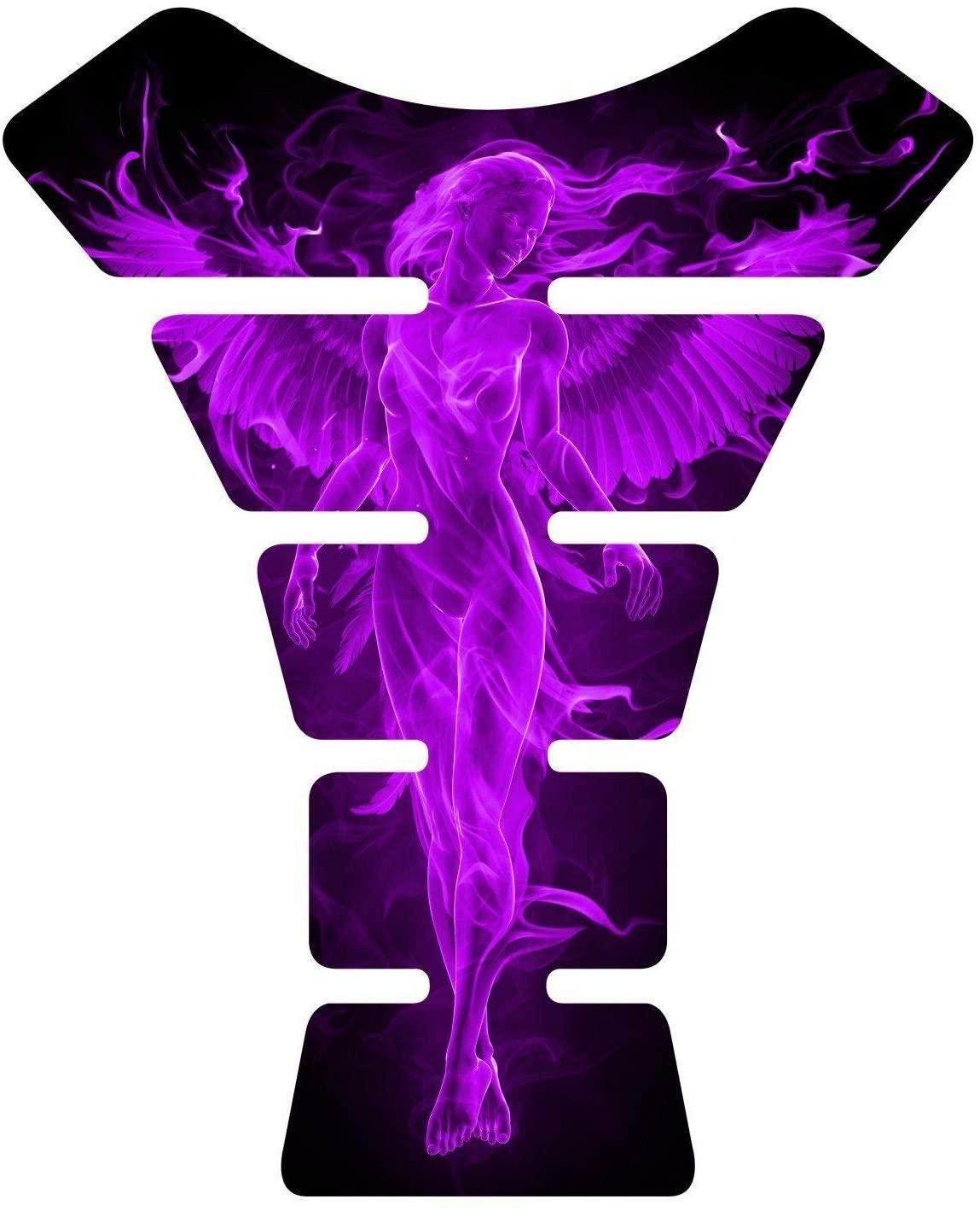 8.6 tall x 6.8 wide Flaming Fire Angel purple Yellow V2 3D Resin Gel Coating UV Resistant Motorcycle Sportbike Gel Tank Pad tankpad Protector Decal