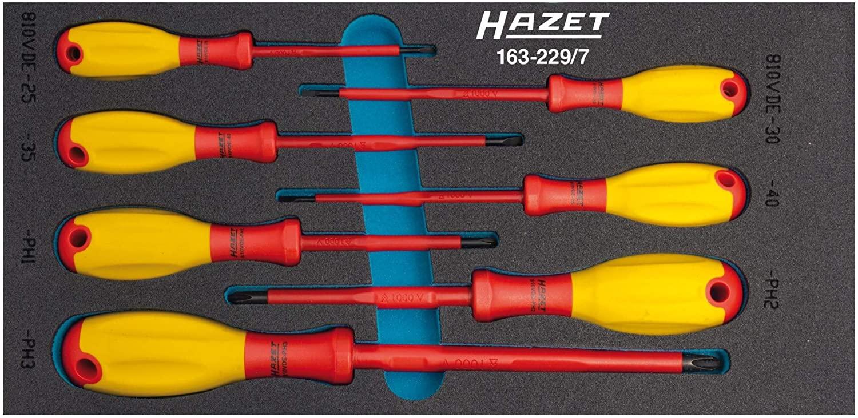 HAZET 163-229/7 Slot Cross Recess PH Profile VDE Screwdriver Set - Multi-Colour