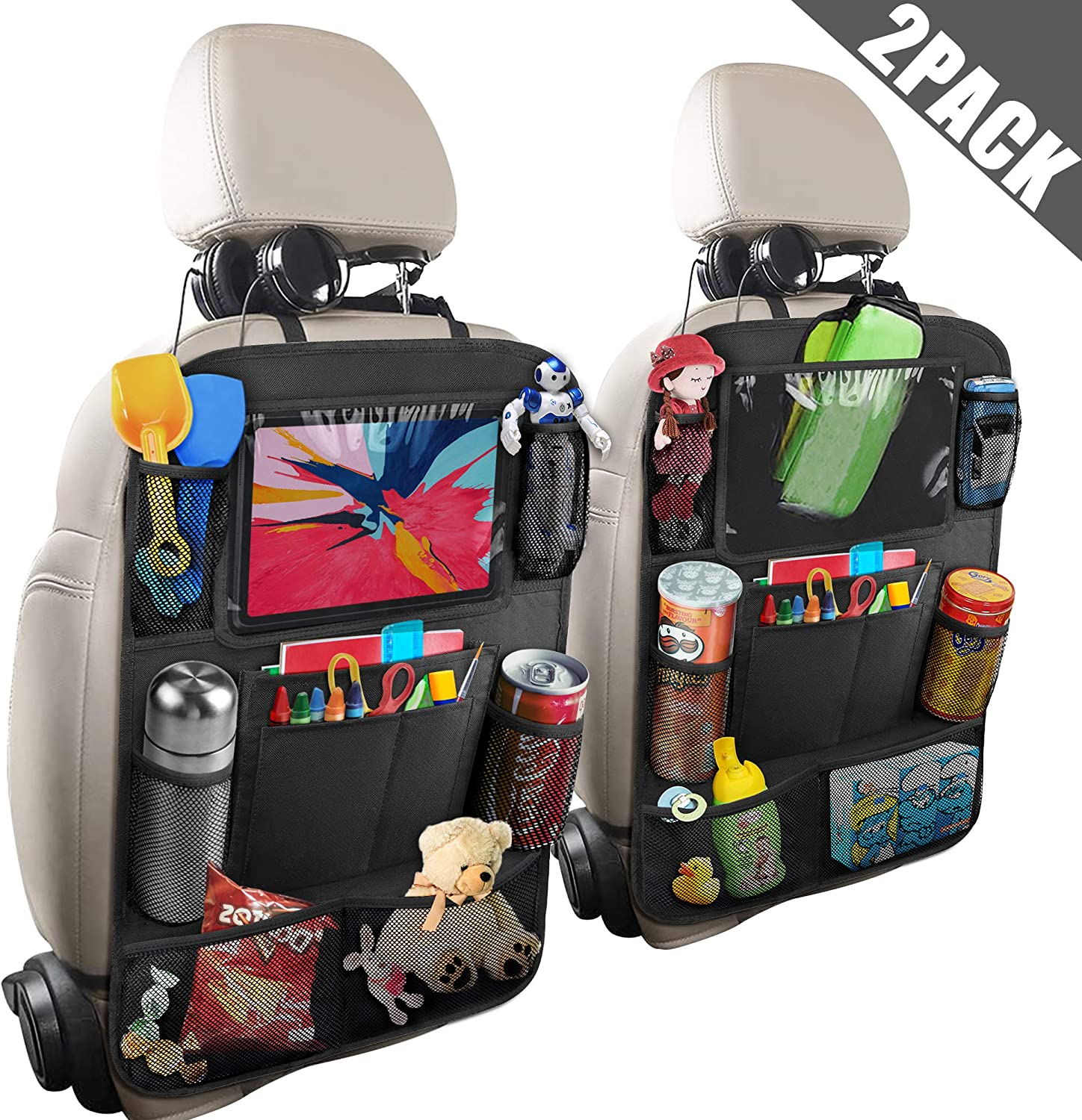 Anban Car Backseat Organizer with 10 Inch Tablet Holder + 9 Storage Pockets Kick Mats Back Seat Protector for Book Drink Toy Bottle, Travel Accessories for Kids Toddlers Black (2 Pack)