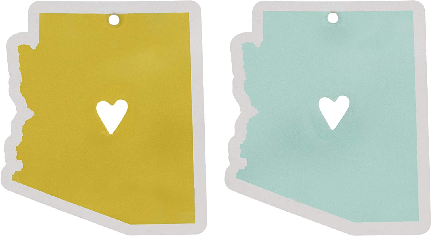 About Face Designs State of Arizona Silhouette On Mustard and Sky Blue Automotive Foam Air Freshener Set of 2