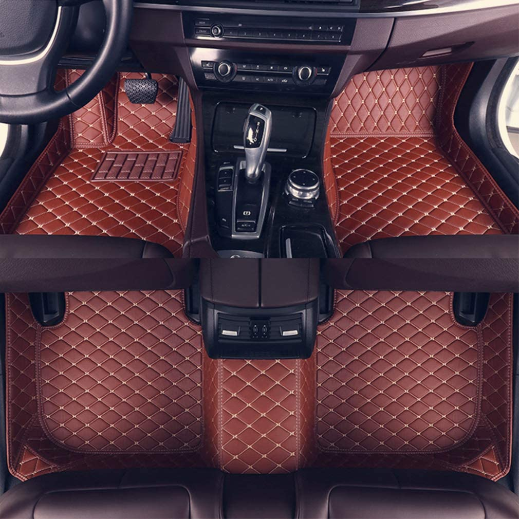 8X-SPEED Custom Car Floor Mats Fit for Audi A8/A8L 2006-2010 5-Seats Full Coverage All Weather Protection Waterproof Non-Slip Leather Liner Set Brown
