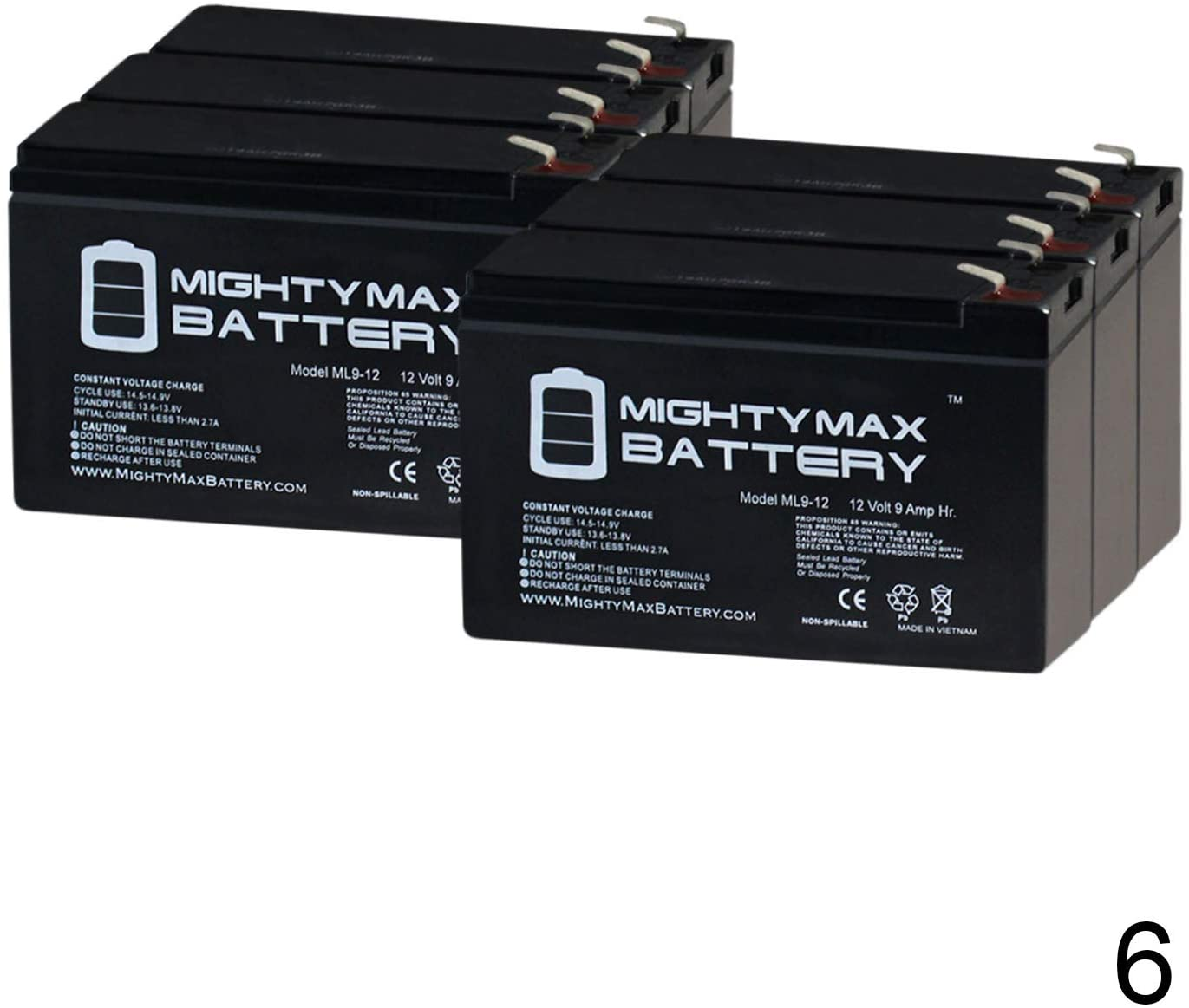 Mighty Max Battery Altronix SMP5PMP16 12V, 9Ah Lead Acid Battery - 6 Pack Brand Product