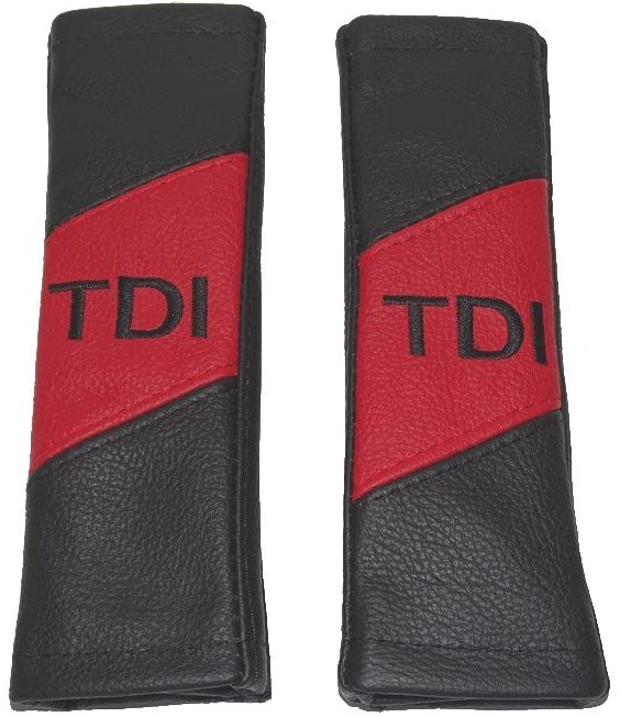 The Tuning-Shop Ltd 2 x Seat Belt Covers Pads Leather TDI Embroidery