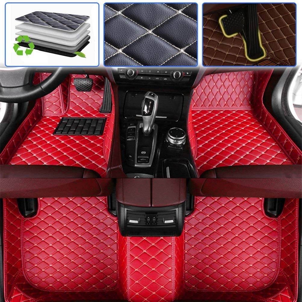 Custom Car Floor Mats for Dodge Charger 2006-2013, 2014-2016 Luxury Leather Waterproof Anti-Skid Full Coverage Liner Front & Rear Mat/Set (red)