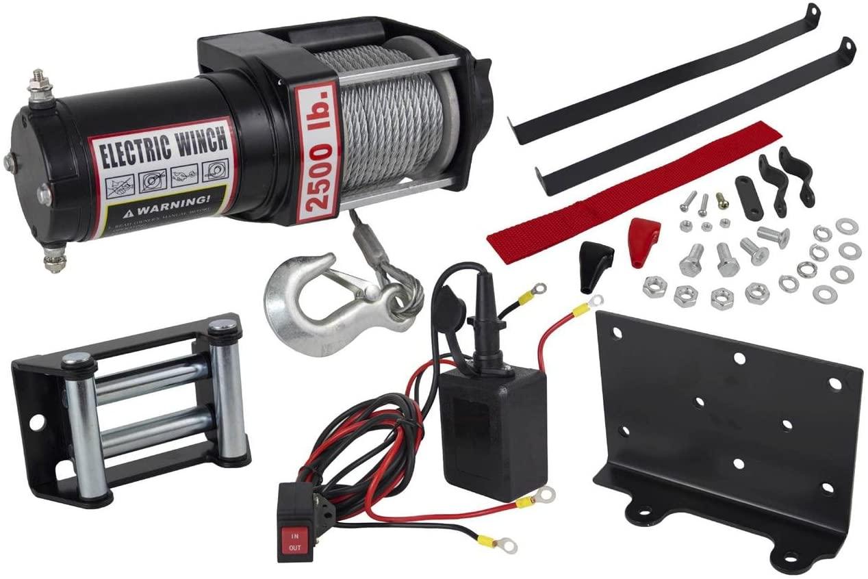 Rareelectrical 2500lb ATV WINCH ASSEMBLY COMPATIBLE WITH PZR POLARIS ATV 1.07HP 153:1 GEAR RATIO CONTROL RELAY