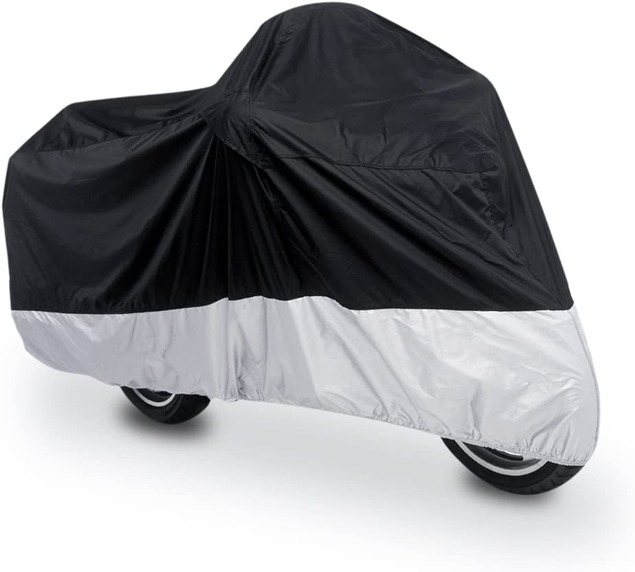 uxcell L 190T Rain Dust Motorcycle Cover Black+Silver Outdoor UV Waterproof 86