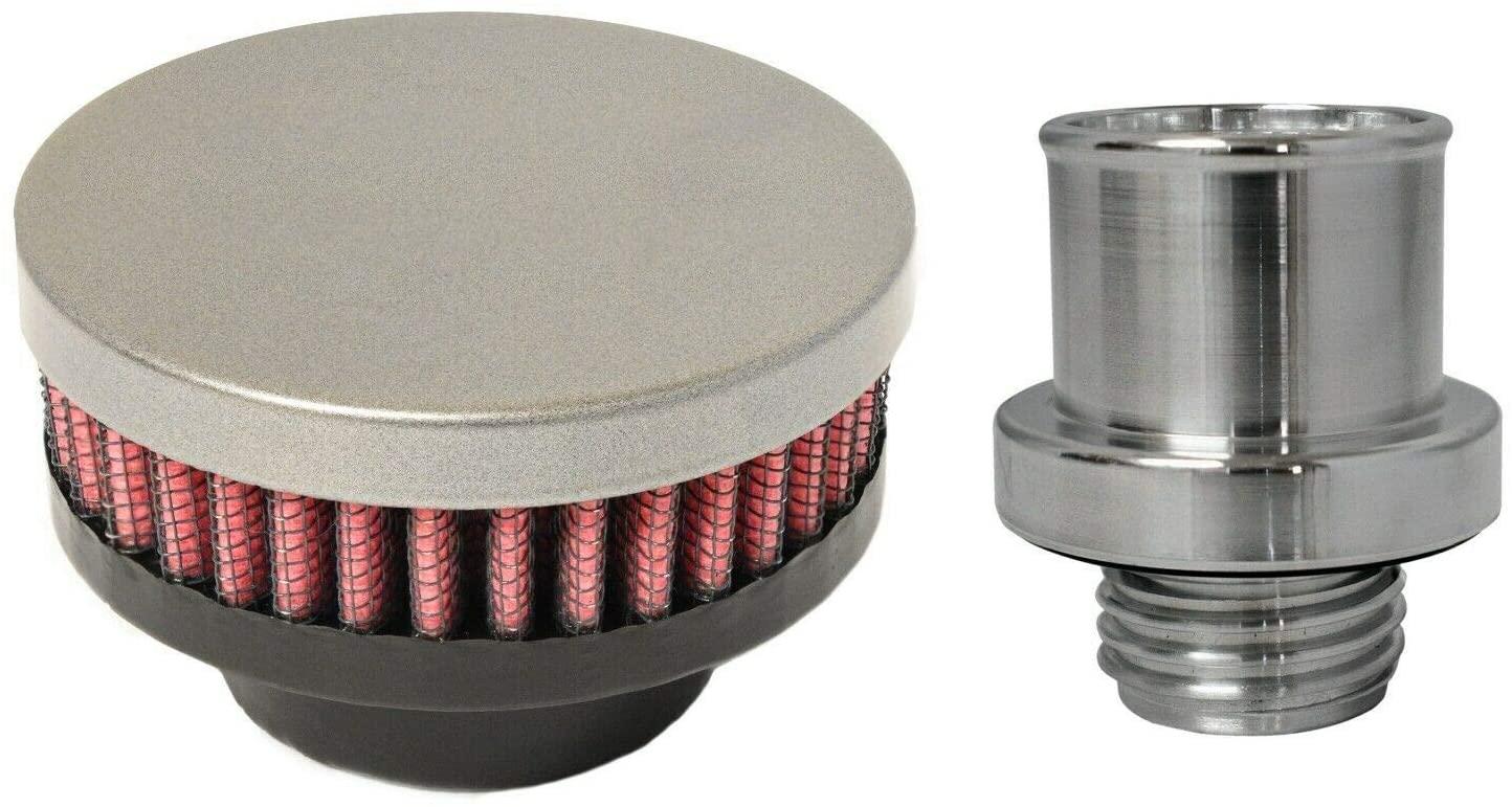 CFM Performance Baffled Billet Valve Cover Breather compatible with 06-08 Dodge Magnum Hemi R/T 5.7 SRT-8 6.1 (Gunmetal Gray)