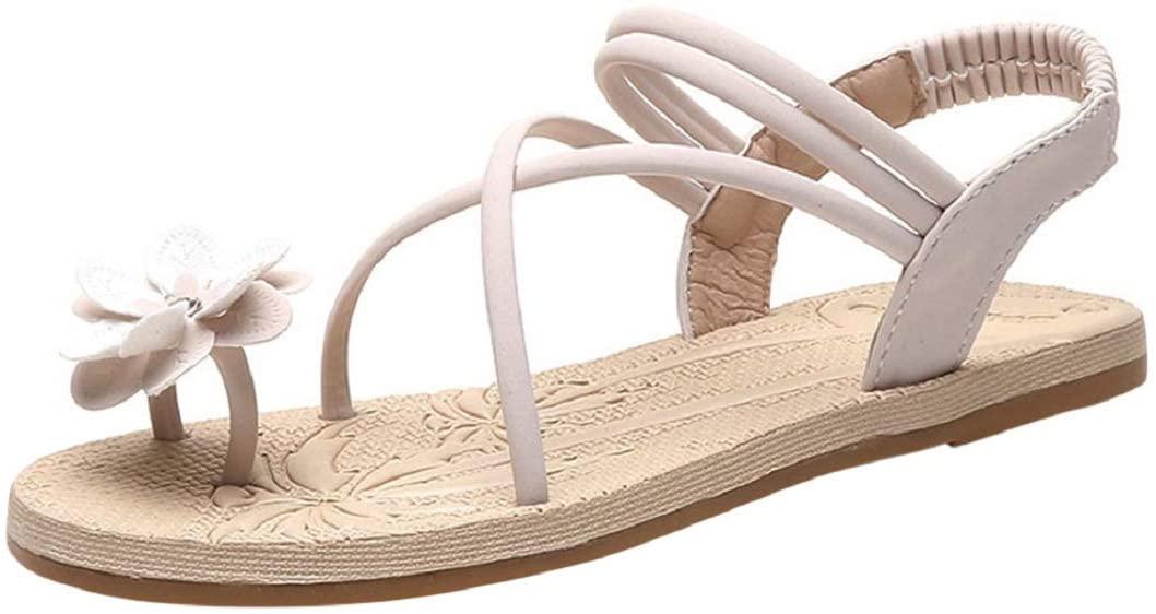 Womens Flat Sandal Flower Toe Ring Sandal Ankle Strap Criss Cross Sandal Bohemian Summer Shoes Beige