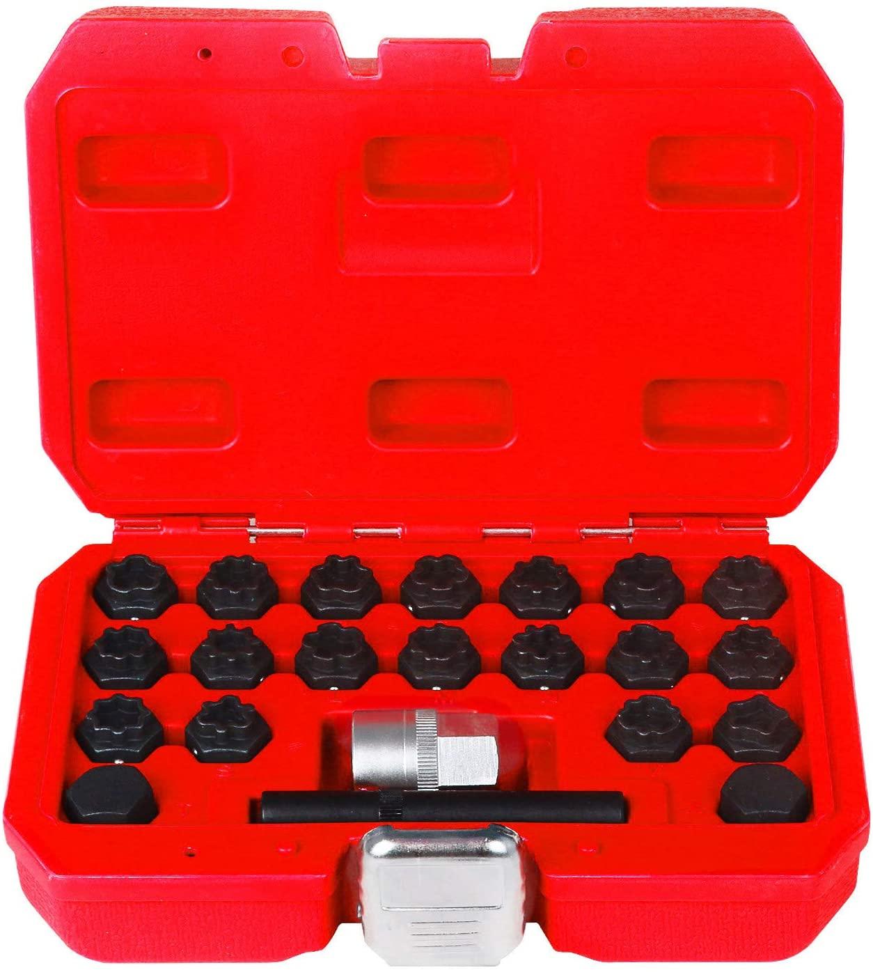 MR CARTOOL 22pcs Wheel Lock Lug Nut Removal Tool Kit 1/2