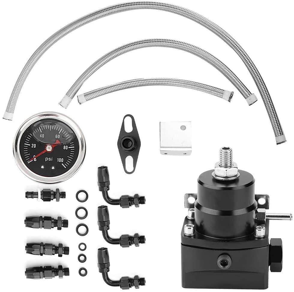Fuel Pressure Regulator Kit, Universal Adjustable Aluminum Fuel Pressure Regulator Kit with 0-100 psi Gauge and AN-6 Fuel Line Hose Fittings