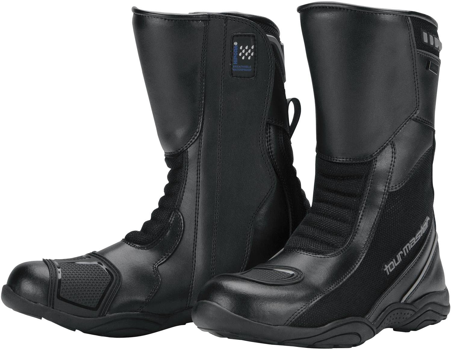 Tour Master Solution WP Air Road Mens Leather Sports Bike Motorcycle Boots - Black/Size 8