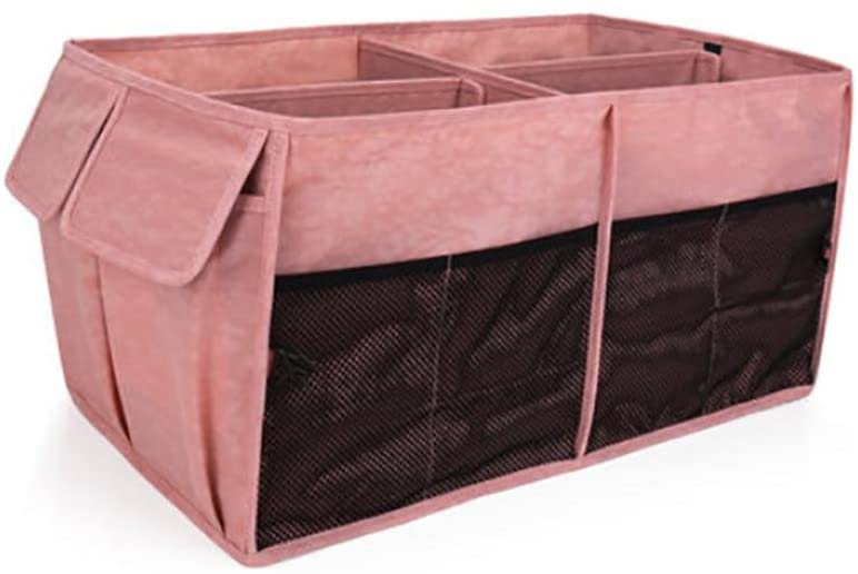 TOCHENG CAR Trunk Organizer - Best for Holding Groceries, Storing Cargo, While Folding Flat for Easy Storage, Pink