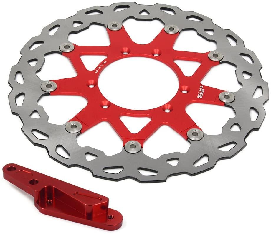 320mm Red Front Floating Brake Disc + Adaptor Bracket - For Honda CRF250R CRF250X CRF450R CRF450X CR125 CR250 SUPERMOTARD 4 Pot HF6 Brembo Caliper