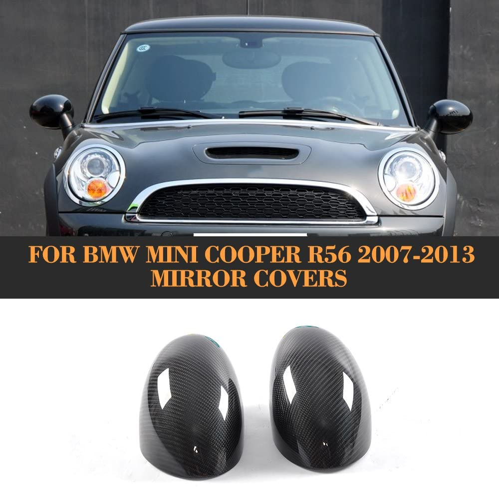 Carbon Fiber Add On Rearview Mirror Caps Covers Trim for BMW Mini Cooper R56 Only 2007-2013 2PC