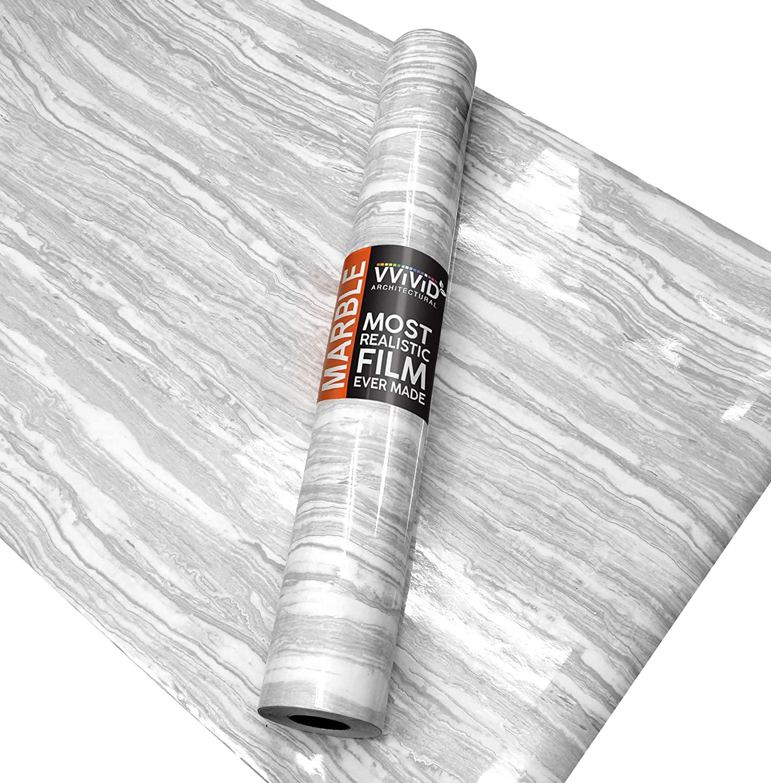 VViViD Gloss Calacatta White Marble Natural Texture Architectural Vinyl Film Roll (16 Inch x 6.5ft)