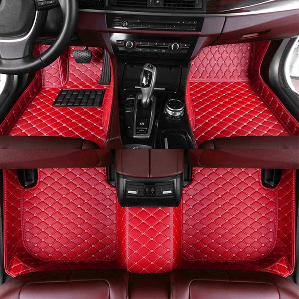 8X-SPEED Custom Car Floor Mats for Dodge Journey 2009-2017 Full Coverage All Weather Protection Waterproof Non-Slip Leather Liner Set red