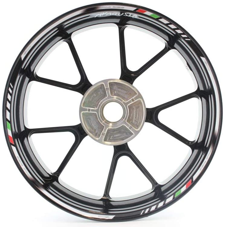 Motorcycle wheel rim decals rimstriping strips accessory sticker for MV Agusta (White)