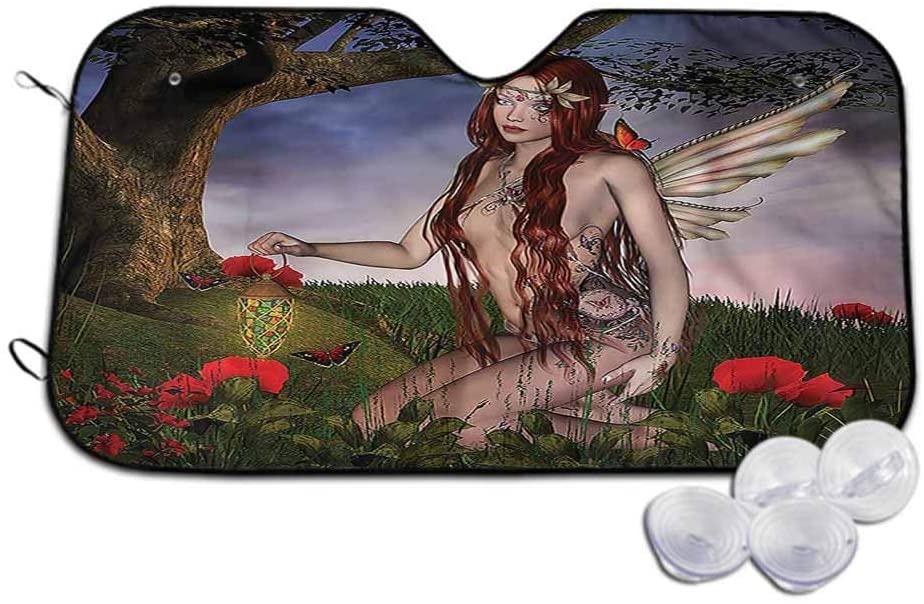 TableCoversHome Car Sun Visor Fantasy Car Sunshades Reflect Fairy Butterfly Catcher, 30 x 55 Inch, Car Parts