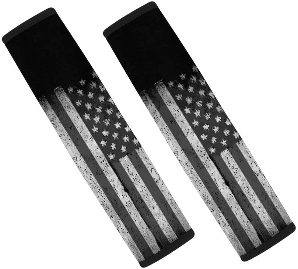INTERESTPRINT Grunge American Flag 2-Pack Automotive Seat Belt Covers for Adults, Fit Car Seat Belt, Backpack
