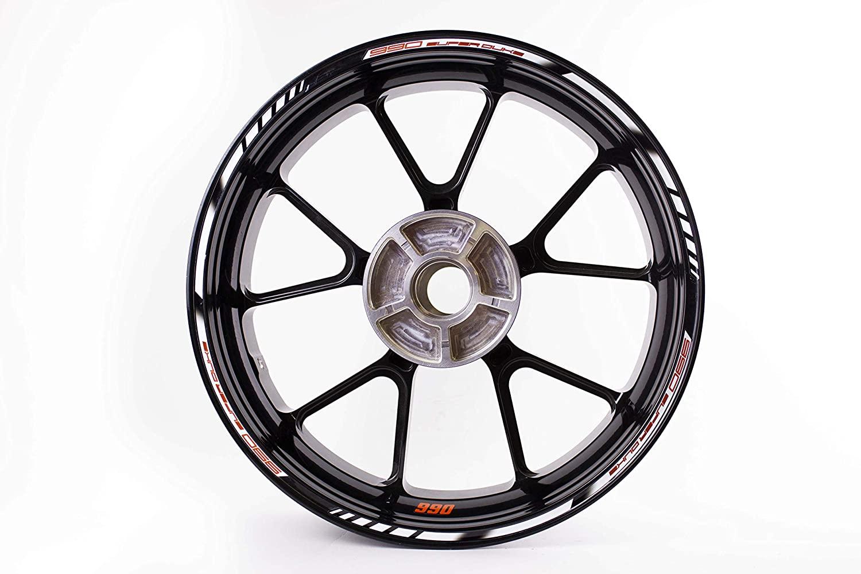 Motorcycle wheel rim decals rimstriping strips accessory sticker for KTM Superduke 990 (White/Orange)