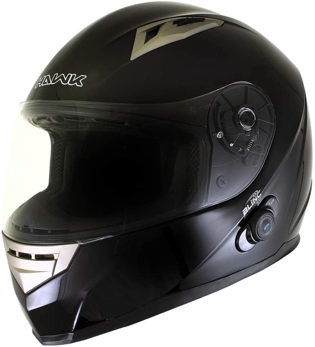 Hawk H-510 Glossy Black Bluetooth Full Face Motorcycle Helmet - X-Large