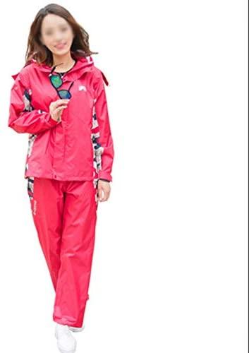 YYHSND Raincoat Suit Men and Women Reusable Outdoor Rainproof Windproof Hooded Raincoat Raincoat (Color : Red, Size : L)