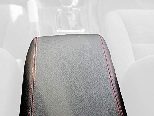 RedlineGoods cubierta de apoyabrazos Compatible with Ford Fusion 2004-10. Alcantara Negra Costura Plata