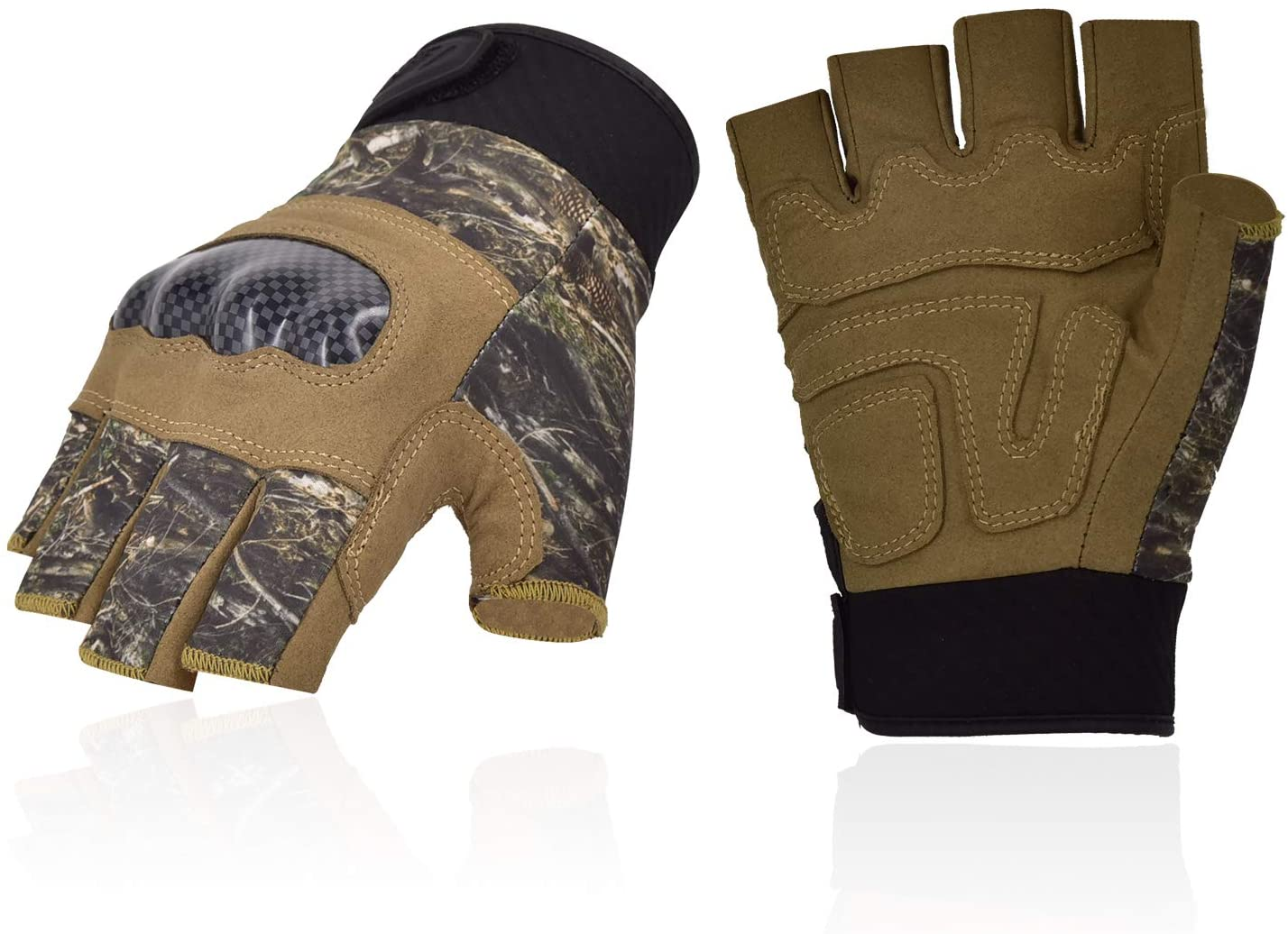 Vgo... 2Pairs Hard Knuckle Gloves for Motorcycle Cycling Hiking (Size L,CAM,SL6086)