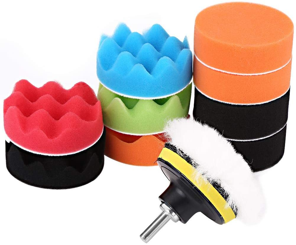 Sponge Buffing Polishing Pads,12Pcs 3 Inch Car Sponge Buffing Polishing Pad Sponge Cleaning Pads Kit for Car Polisher with Drill Adapter Waxing Buff Pad Set