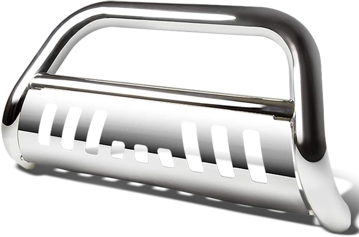 Replacement for Tacoma 3 inches Bumper Push Bull Bar+Removable Skid Plate (Chrome)