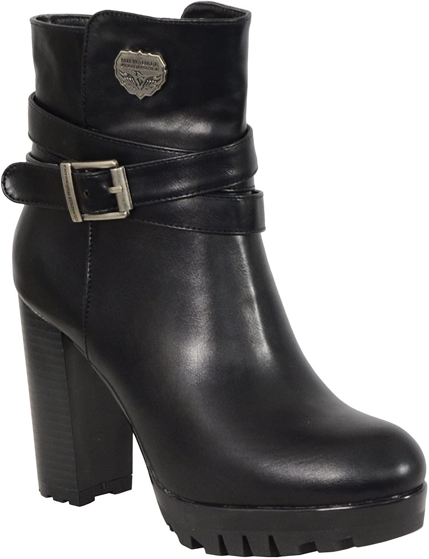 Milwaukee Performance Women's Black Double Strap Side Zipper Boots (Black, Size 7)