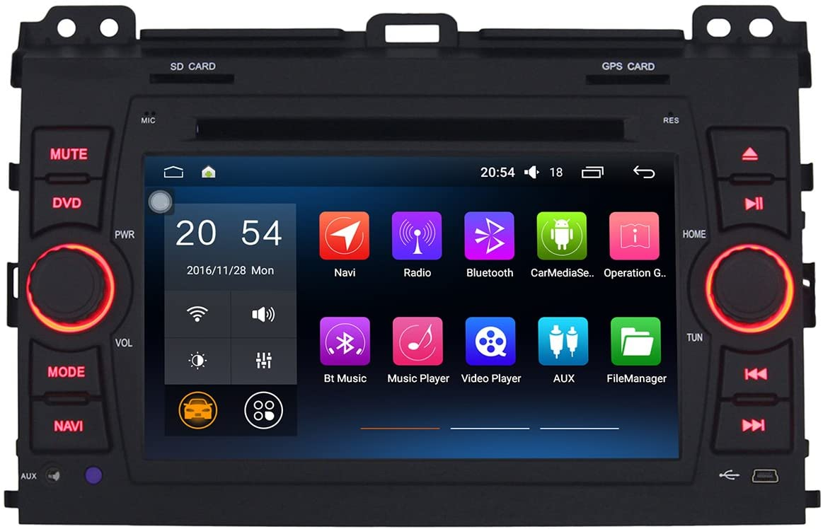 Morjava J8826 Double Din 7 inch Special Car Stereo for Toyota Bluetooth Steering Wheel Android 6.0 Car PC Quad Core with CANBUS RAM 2GB-Flash32GB (J8826-RAM 2GB-Flash32GB)