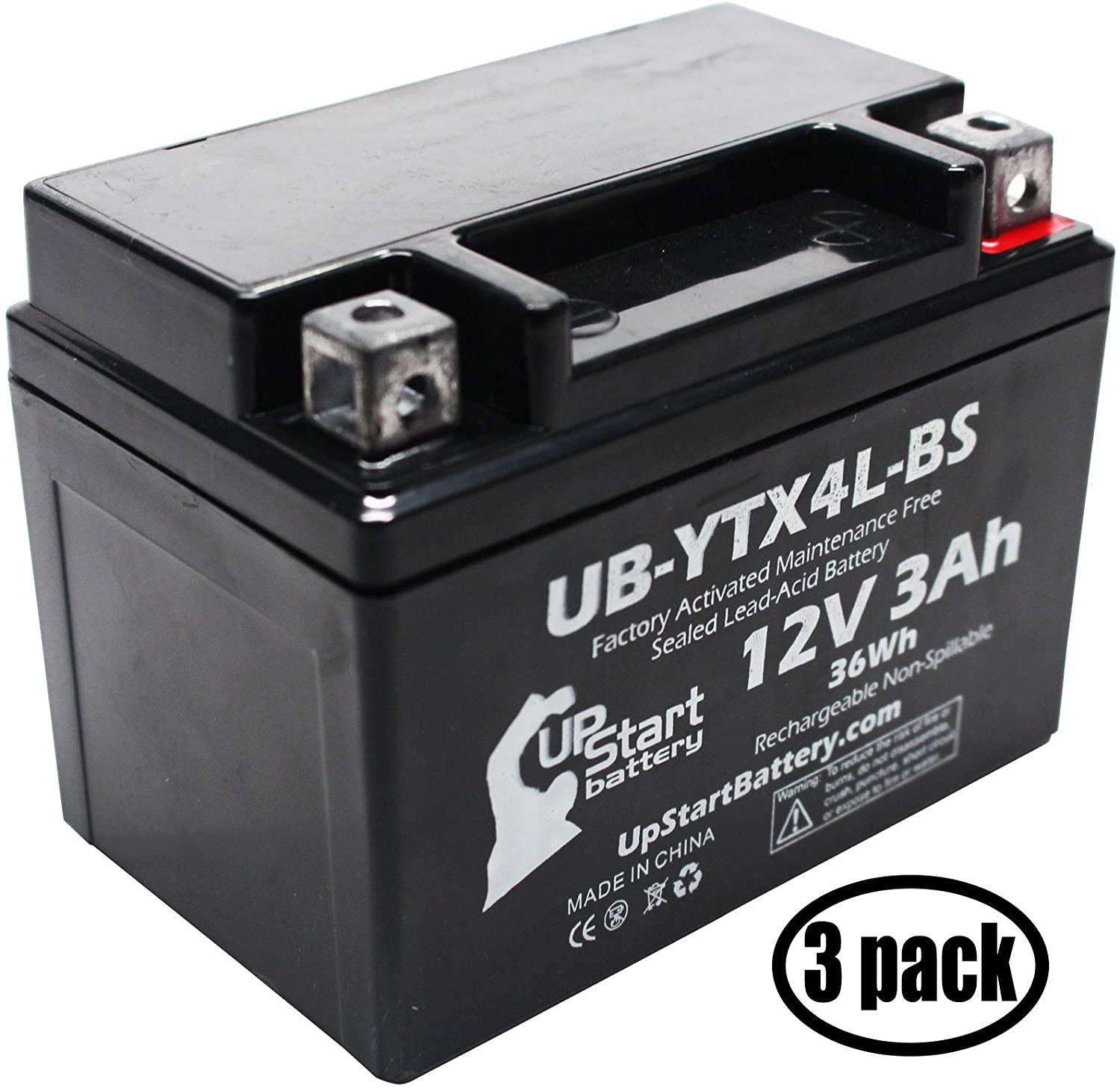 3 Pack - YTX4L-BS Battery Replacement (3Ah, 12v, Sealed) Factory Activated, Maintenance Free Battery Compatible with - 1990 Suzuki DR350S, 1990 Suzuki DR250S, 1993 Suzuki DR350S, 1991 Suzuki DR350S