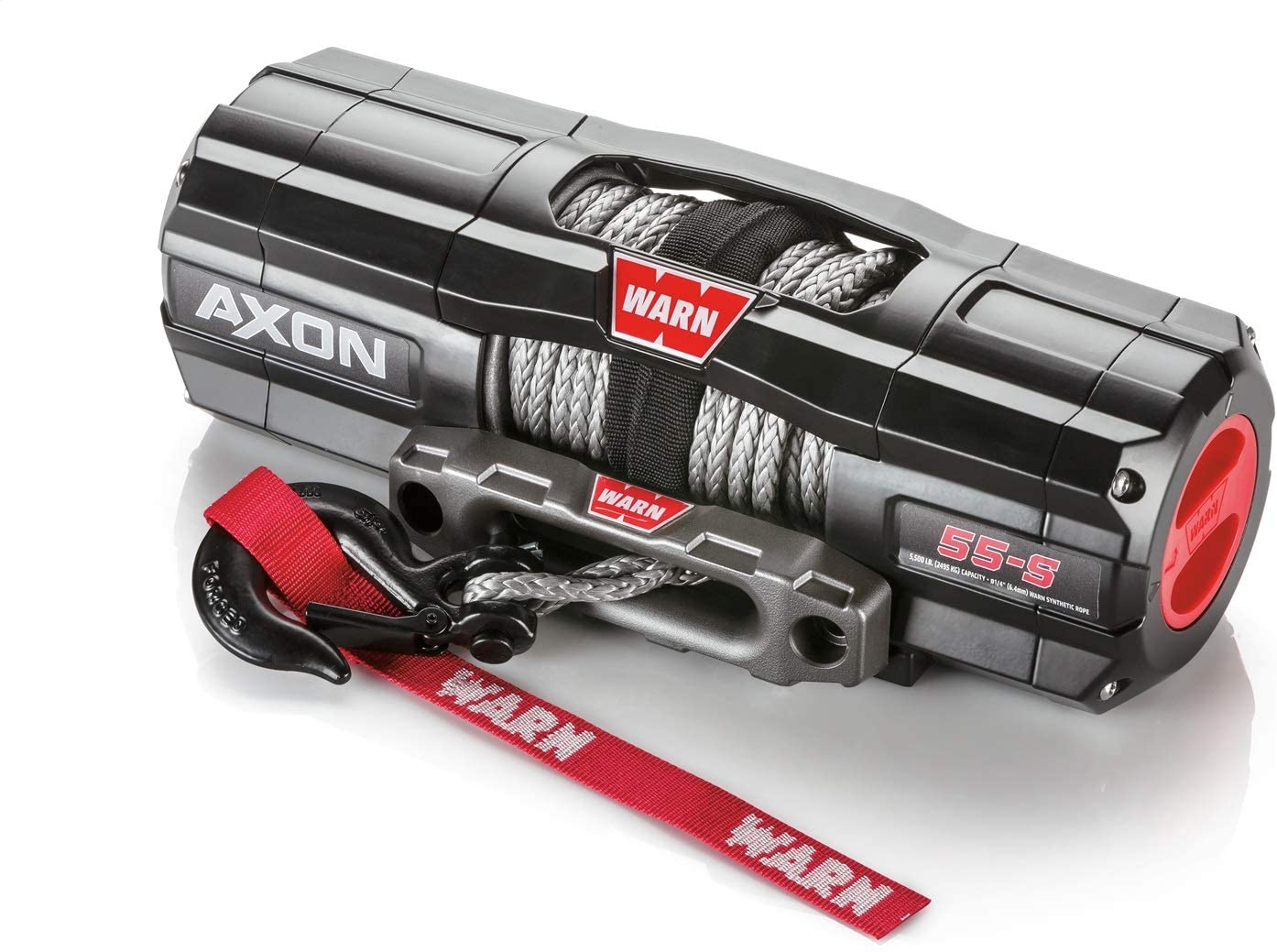 WARN 101150 AXON 55-S Powersports Winch with Spydura Synthetic Cable Rope: 1/4 Diameter x 50 Length, 2.75 Ton (5,500 lb) Pulling Capacity