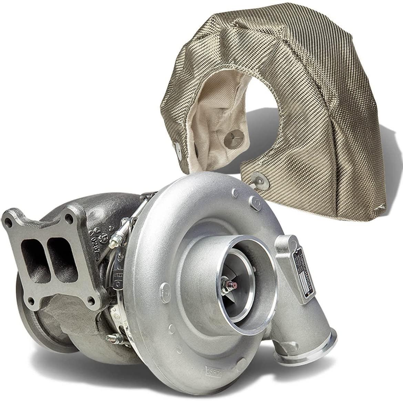 Replacement for Dodge Diesel HX55 HX55W T4 Turbocharger+Turbo Heat-Wrap Blanket (Titanium)