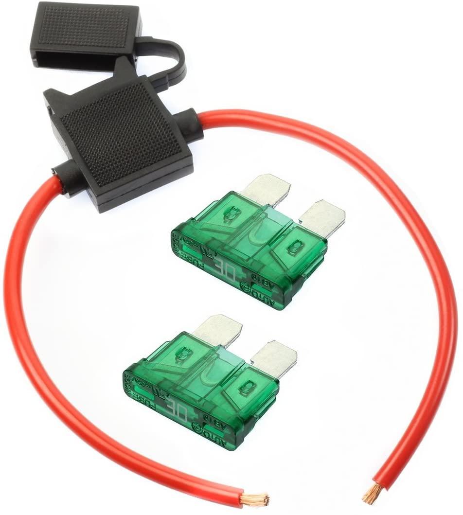 VOODOO (1) 12 Gauge Gauge ATC Inline Fuse Holder Fuseholder with Cover & (2) Fuses (30 AMP)