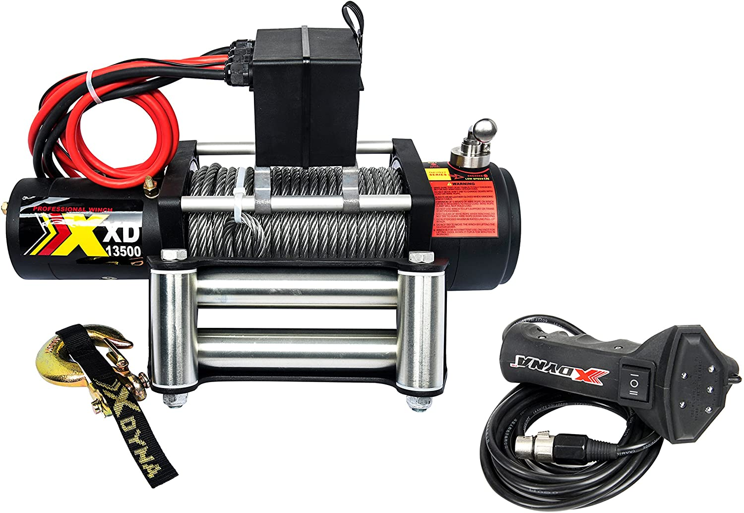 13500lbs 12 V Waterproof Winch with Adjust Torque Limited Protector, Intelligent Remote Handle Showing Load Red Warning,100% Engaged Stainless Clutch, Wire Cable, Used to SUV Track