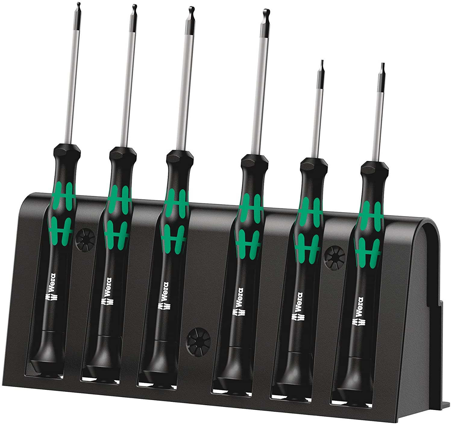 Wera 2052/6 Kraftform Micro Ballhead Hexagon Electronics Screwdriver Set and Rack, 6-Piece