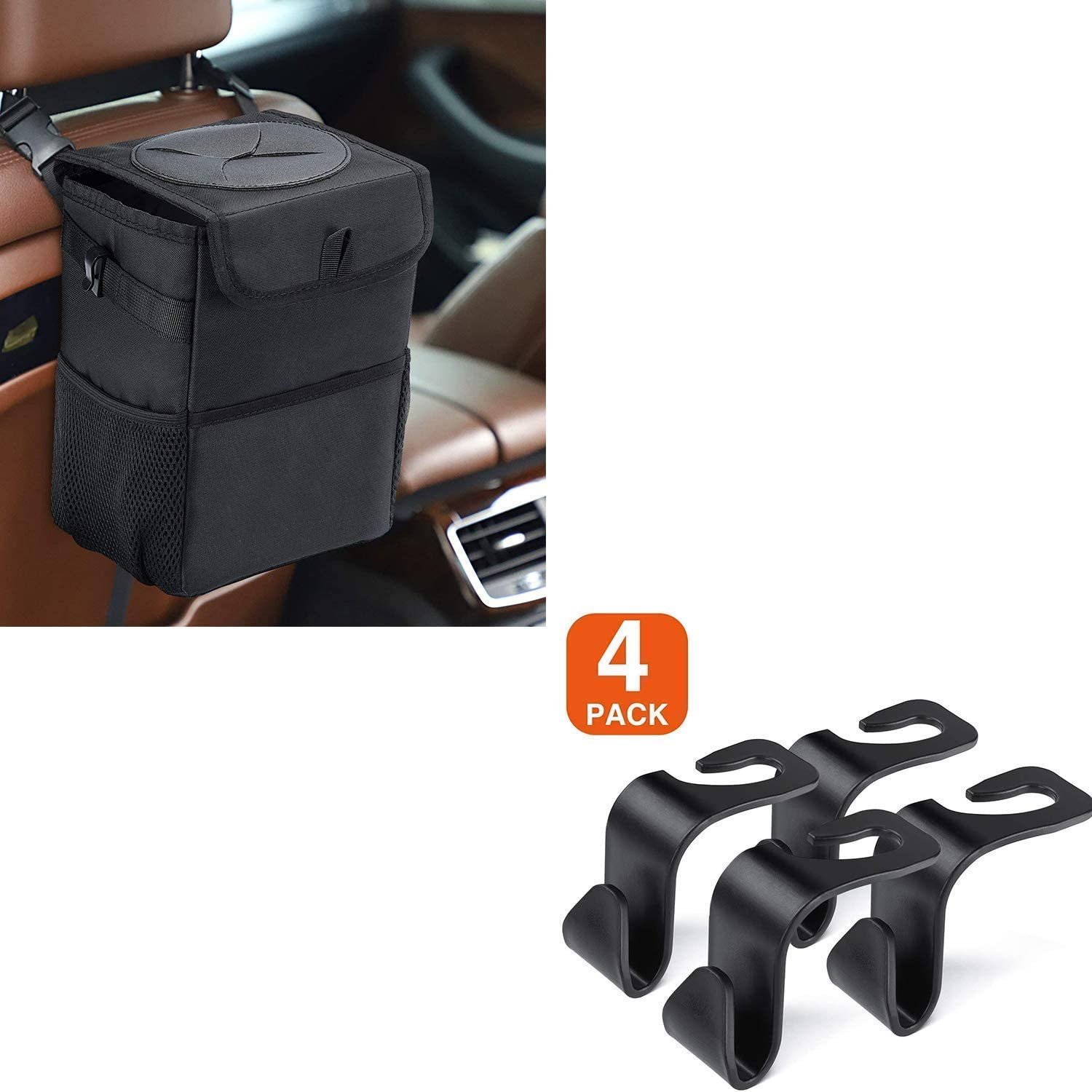 Car Seat Headrest Hooks for Car and Trash Can with Lid and Storage Pockets Bundle